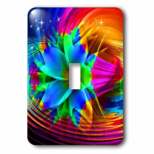 3dRose lsp_167080_1 Fractal Flower with Abstract Layered Textured Look Colorful Back - Single Toggle ()