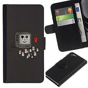 KLONGSHOP // Tirón de la caja Cartera de cuero con ranuras para tarjetas - Divertido Oldschool Ratón de la historieta - Apple Iphone 6 //