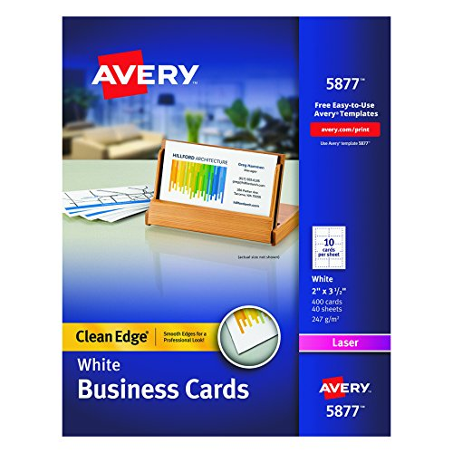 Avery White Clean Edge Two Sided Laser Business Cards, 2 x 3.5 Inches, Box of 400 (Clean Edge Cards)