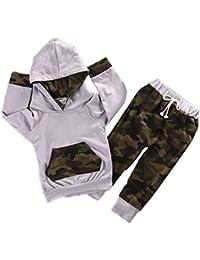 Recién nacido Baby Boy niñas ropa de camuflaje con capucha playera Tops + Pants Trajes