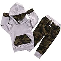 Newborn Infant Baby Boy Girls Camouflage Clothes Hooded T-Shirt Tops+Pants Outfits