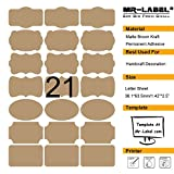 Mr-Label 7 Types of Fancy Shape Brown Kraft Labels on Letter Sheet - Self Adhesive Stickers for Gift Decoration| Hand craft| Finishing Touch| Bottles (10 sheets/total 210 labels)