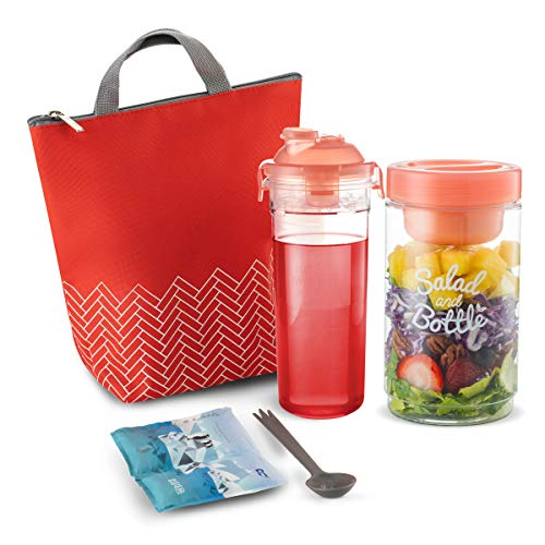 (Komax Lunchmate Insulated Lunch Bag For Women - Cute Lunch Box Set - Waterproof Lunch Bag for Ladies (small), Reusable Salad Container (33-oz), Matching Water Bottle (20-oz), Utensils & Ice Pack - Red)