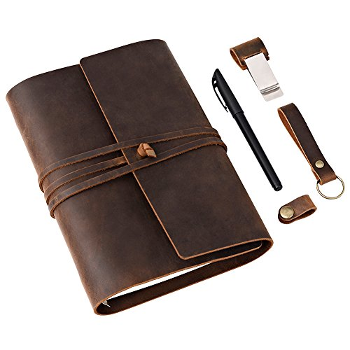 Genuine Leather Journal w/ Strap Closure (Refillable) Soft, Lay-Flat Binding | 100 Sheets of Paper, A5 Size | Work, Travel, Study, Appointments | Men and Women (Journal Leather Genuine)