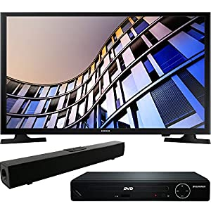 Samsung UN32M4500AFXZA 32-Inch 720p Smart LED TV (2017 Model) with HDMI 1080p High Definition DVD Player and Solo X3 Bluetooth Sound Bar Bundle