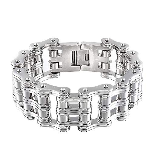 - Men's Punk Motorcycle Chain Big Bracelet Stainless Steel Extra Large Bicycle Chain Bracelets Bangles