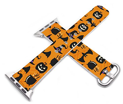 Strap Compatible for Apple Watch Series 4/3/2/1 38mm/40mm Halloween - ENDIY Designer Leather Fashionable Band Replacement for Iwatch Lovely Cute Design Hallowmas All Saints' Day Gift Present