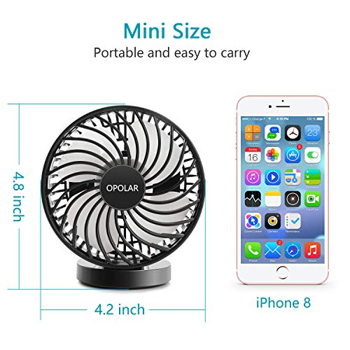 OPOLAR Battery Operated Fan, USB Rechargeable Personal Fan, Cordless Design, Powered by USB or 2200mAh Battery, Adjustable Wind, for Office, Car, Outdoor-Stepless Wind Speed by OPOLAR (Image #5)