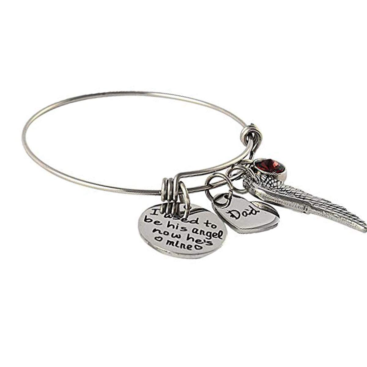 Vinca Mascot Father's Day Bracelet I was Always His Angel Now He's Mine Dad Bangle Expandable Stainless Steel Memorial Jewelry