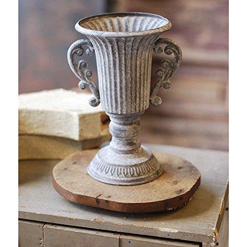Decorative Metal Floral Urn in Grey - 6