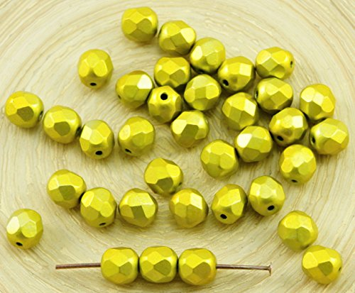 30pcs Metalust Yellow Gold Metallic Czech Glass Round Faceted Fire Polished Beads 6mm