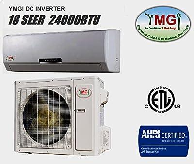 YMGI 24000 BTU 18 SEER Ductless Mini Split DC Inverter Air Conditioner Heat Pump System - 208-230V 1HP 60 Hz with 25 Feet Installation Kit