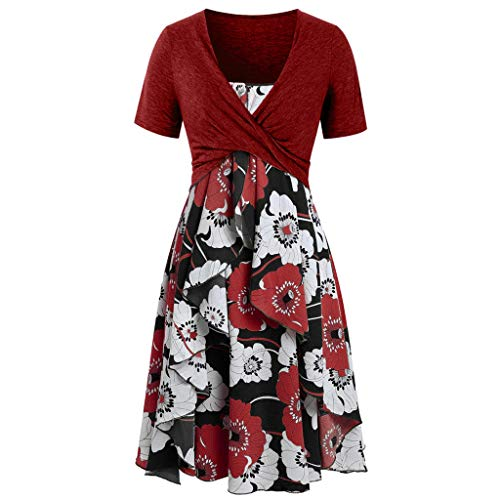 - Women's Summer Casual Short Sleeve Tops Boho Print Swing Mini Dress 2 Piece Outfit(Red,S)