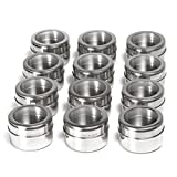 Nellam Spice Rack Magnetic Storage Jars for Spices - 12 pcs Stainless Steel Kitchen Containers with Clear Top - Organizer Tins Kit include a Measuring Spoon Set