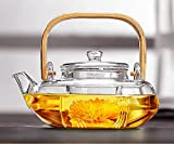 glass and bamboo tea kettle - Ceramic Story Borosilicate Glass Teapot with Glass Infuser, Teakettles Stovetop Safe, 800ml