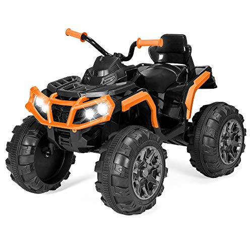 Best Choice Products 12V Kids Battery Powered Electric Rugged 4-Wheeler ATV Quad Ride-On Car Vehicle Toy w/ 3.7mph Max Speed, Reverse Function, Treaded Tires, LED Headlights, AUX Jack, Radio – Orange