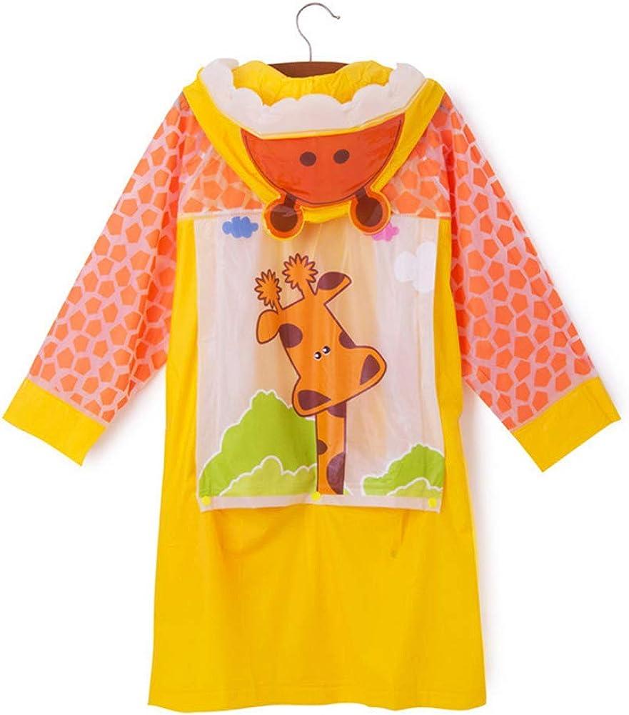D C.Supernice Kids Waterproof Jacket Boys Girls Animals Pattern Hooded Rain Coats with Backpack Position /& Storage Bag