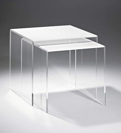 Marbella - Juego de mesas de acrílico de cristal: Amazon.es ...