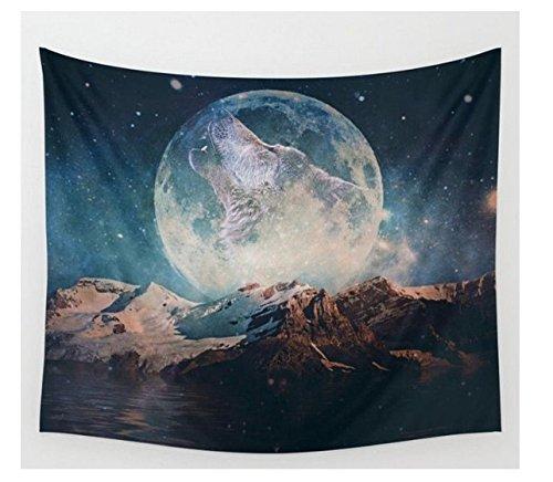 QNJins Clearance Sale Dark Blue Starry Sky Full Moon and Barren Mountain Wolf Mandala Bohemian Tapestry Wall Hanging Wall Art (Medium, Blue) (Wolf Mandala)