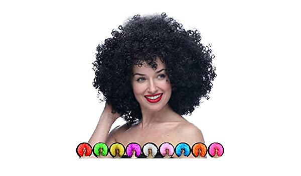 Amazon.com: ThinkMax Cosplay Wig for Christmas Synthetic Performance Hair Wavy Round Clown Wig Football Fans Peluca Cosplay: Beauty