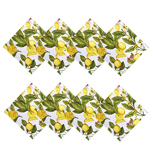Newbridge Lemon Zest Botanical Print Indoor/Outdoor Fabric Napkins - Yellow Lemon Vine, Soil Resistant, Water Repellent Fabric Napkins, Set of 8 Napkins