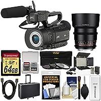 JVC GY-LS300CHU Ultra 4K HD 4KCAM Super 35 Pro Camcorder & Mic Handle Audio Unit + 85mm T/1.5 Lens + 64GB Card + Case + Video Light + 3 Filters Kit