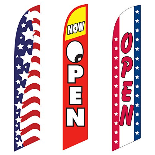 Mkevi 12ft x 2.5ft Swooper Flags Open (Stars/Stripes) Feather Banner Flag – ONLY Replacement Flag for Stand Out Advertising For Sale