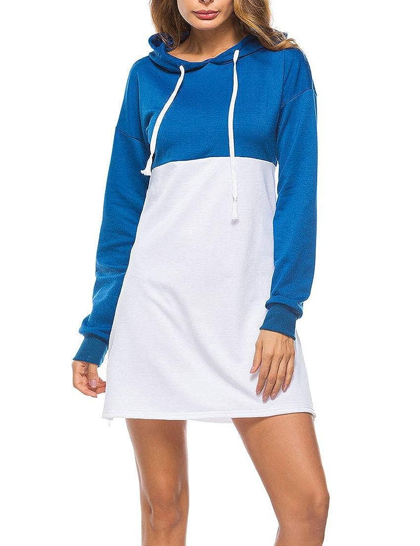 Loveinus Womens Color Block Hoodie Dress Drawstring Bodycon Casual Long Sleeve Mini Dress