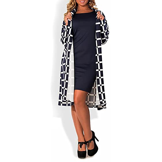 COCOEPPS Womens Bodycon Sheath Dress and Long Sleeves Plaid Autumn Jacket (L, coat only
