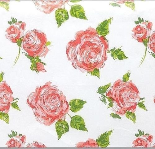 """20"""" x 30"""" Rose/Floral on White Tissue Paper 10 Large sheets"""