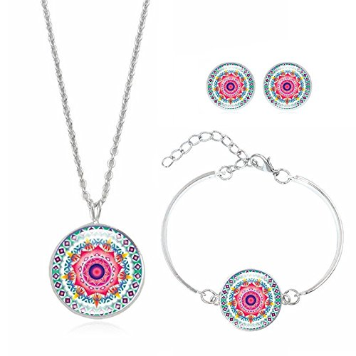 Gbell Clearance! Girls Jewelry Charm Set - Rainbow Mandala Art Pendant Statement Chain Necklace Stud Earrings Bracelet Bangle Jewelry Set for Date Party Casual - Bangle Stud