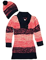 Dollhouse Little Girls Brushed Stripes Pointelle Knit Cardigan Sweater with Hat, Coral, 4T