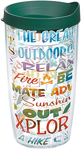 Tervis 1177981 Outdoor Adventure Tumbler with Wrap and Hunter Green Lid 16oz, Clear