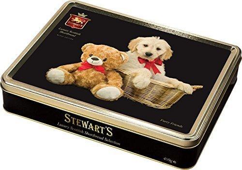 Black Cookie Tin - Stewarts Luxury Shortbread Black Collection - Furry Friends 400g