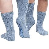 Non Skid Slipper Socks (Unisex) Fuzzy Moisture-Wicking Ideal for Diabetics Cold Feet Home Travel Hospital Crew Length – 10 Pack (Grey)