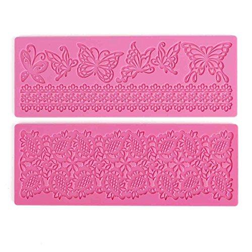 2x Moule Décoratif En Silicone Gâteaux Et Tartes Pâte À Sucre Artisanales - Motif Papillons Fleurs Dentelle by DELIAWINTERFEL