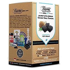 Beamer 100% Natural Cáscara de Coco Carbón Shisha (1Kilo (kg) 108piezas pisos. 25mm x 25x 17. Sin productos químicos, sin Sabor, No Sparks, o humo. Carbón