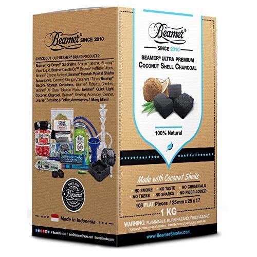 Beamer 100% Natural Coconut Shell Hookah Shisha Charcoal 1 Kilo (Kg) 108 Piece Flats. 25mm X 25 X 17. No Chemicals, No Taste, No Sparks,or Smoke! Coals