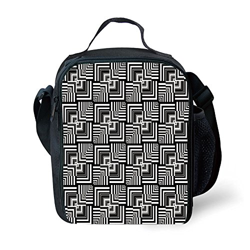 - IPrint School Supplies Black and White,Geometric Op Art Pattern Unusual Checked Optical Illusion Effect Modern Decorative,Black White for Girls or boys Washable