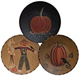 CWI Gifts Hand Painted Scarecrow & Pumpkin Decorative Wooden Plates in Rustic Mustard or Black Paint Finish (Set of 3), 6''
