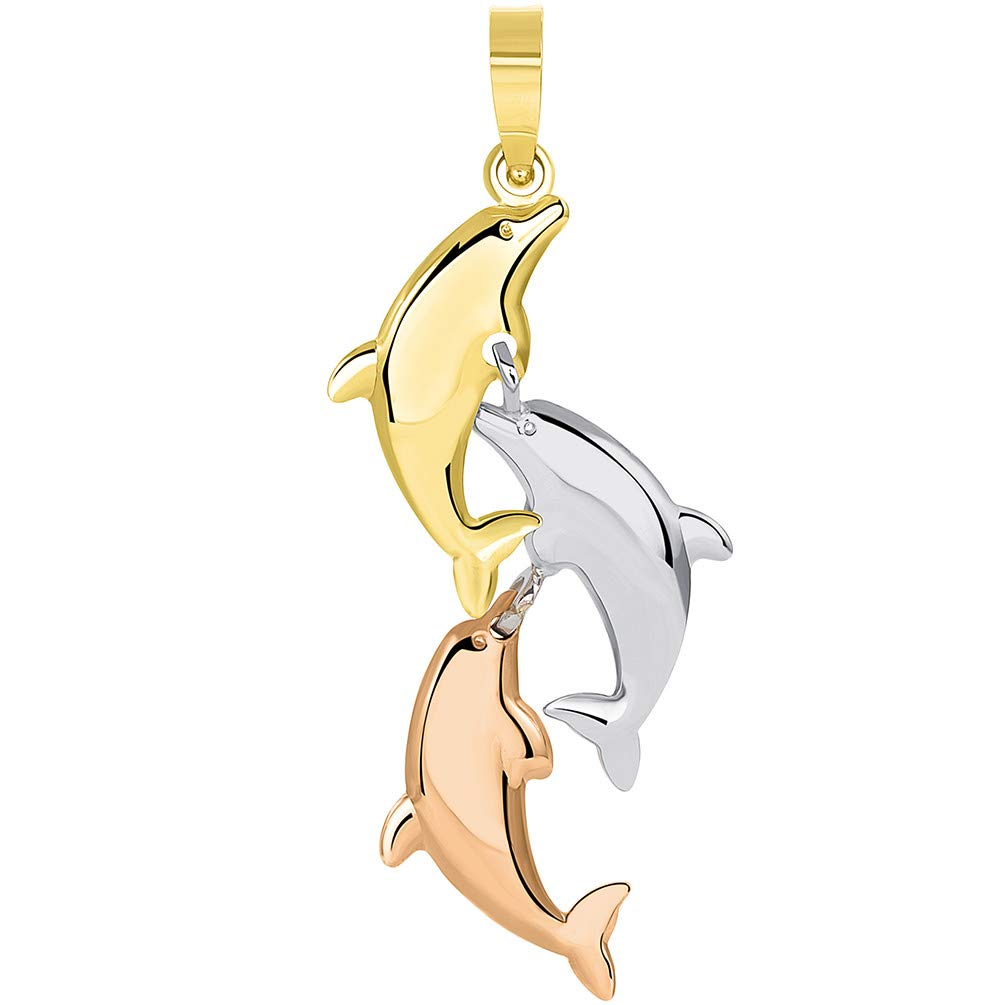 14k Tri Color Gold 3D Three Dangling Dolphins Jumping Vertical Pendant Necklace