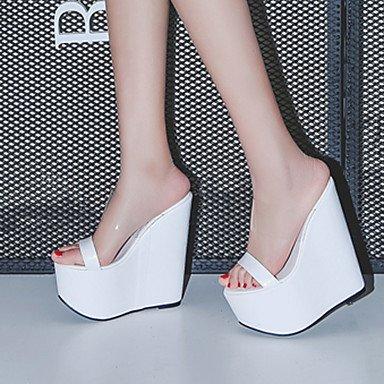 Verano Guantes-Sandalias para mujer vestido de cuña de PU de Club de zapatos de color blanco negro negro