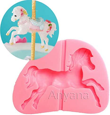 Anyana Carousel Silicone Fondant Mold Cake Decorating Pastry Gum Pastry Tool Kitchen Tool Sugar Paste Baking Mould Cookie Pastry