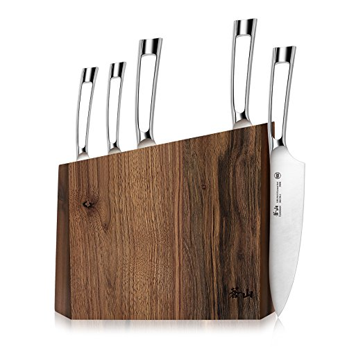 (Cangshan N1 Series 61017 6-Piece German Steel Forged Knife Block Set, Walnut Block)