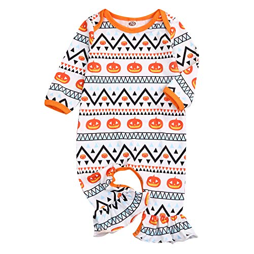 Halloween Pajamas For Baby Girl (Newborn Infant Baby Girls Halloween Romper Pumpkin Print Ruffle Jumpsuit Geometric Long Sleeve Outfit (6-12 Months,)
