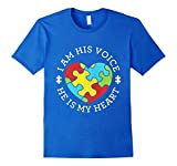 Men's Autism I Am His Voice He Is My Heart T-Shirt Medium Royal Blue
