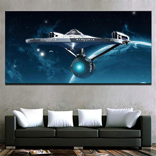 (NATVVA Posters Wall Art Home Decor for Living Room HD Prints 1 Pieces Star Trek Paintings Movie Enterprise Pictures Framework)