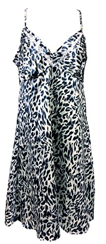 Womens Cute Sleeveless Short Knee Length Satin Nightgown Chemise with Straps (12 US / 16 UK, Leopard Print) - Leopard Print Chemise