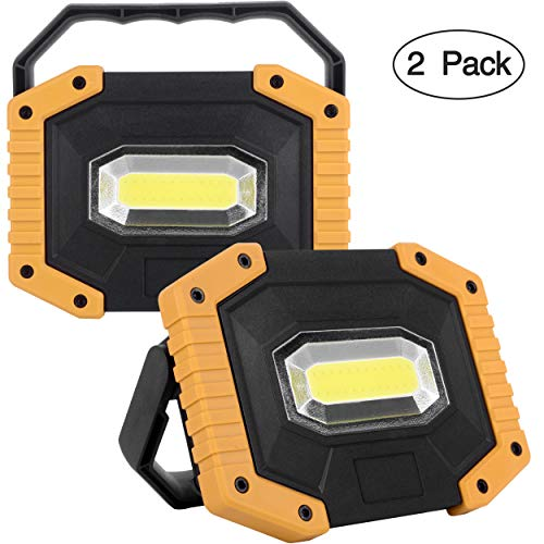 UNIKOO Rechargeable Work Light COB 30W 1500LM, Waterproof LED Portable Flood Light for Outdoor Camping Hiking Emergency Car Repairing Fishing (18650 Battery Included)
