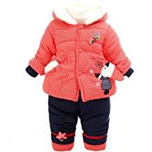 YAOYAO Winter Baby Girls 2 Pieces Clothing Sets Padded Down Jacket Coat and Pants